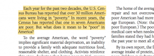 The perception of poverty in the US